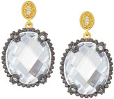 Freida Rothman Two-Tone Oval Crystal Drop Earrings