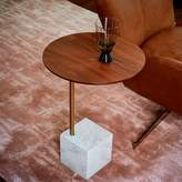 west elm Cube C-Side Table - Walnut/White Marble