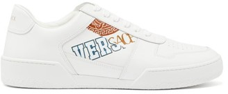 Versace Ilus Logo-print Leather Trainers - White