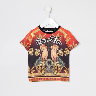River Island Mini boys red 'Style king' T-shirt