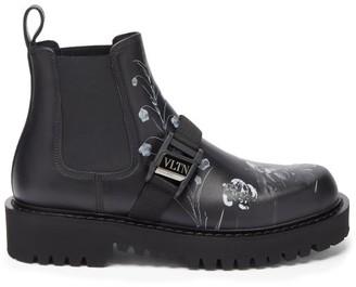 Valentino Flowersity-print Leather Chelsea Boots - Black White