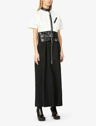 Sacai Leather-belt wool-blend midi dress