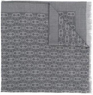 Salvatore Ferragamo double Gancio frayed scarf