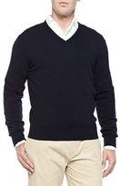 Loro Piana Baby Cashmere V-Neck Sweater, Blue Navy