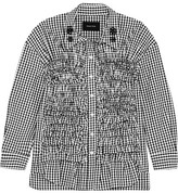 Simone Rocha Embellished Smocked Gingham Cotton-poplin Shirt - Black