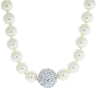 FANTASIA Pave Clasp Pearl Necklace
