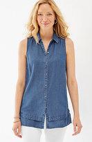 J. Jill Tencel®-Soft Indigo Sleeveless Shirt