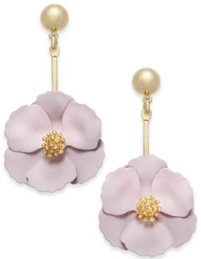 Zenzii Gold-Tone Painted Flower Drop Earrings