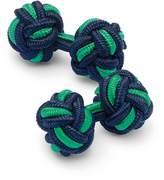 Navy and Green Knot Cufflinks by Charles Tyrwhitt