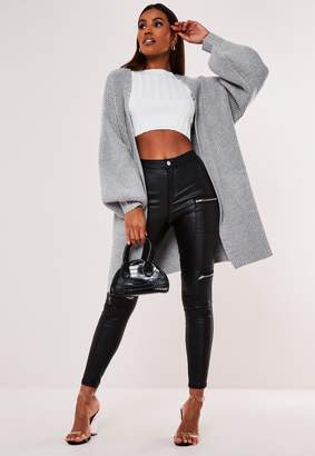 Missguided Grey Knitted Balloon Sleeve Longline Cardigan