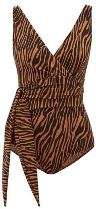 Lisa Marie Fernandez Dree Zebra-print Tie-waist Jersey Bodysuit - Womens - Brown Print