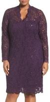 Marina Plus Size Women's Sequin Stretch Lace Sheath Dress