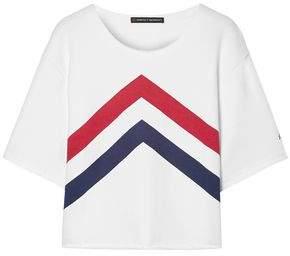 Perfect Moment Cropped Paneled Cotton-jersey T-shirt