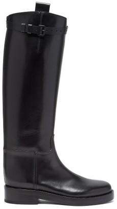 Ann Demeulemeester Buckled-strap Knee-high Leather Boots - Womens - Black