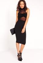 Missguided Sleeveless Mesh Top Midi Dress Black