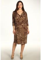 Klein Plus Anne Plus Size Leopard Print V-Neck Dress (Bark Multi) - Apparel