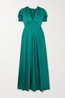 Diane von Furstenberg Avianna Gathered Satin Maxi Dress - Turquoise