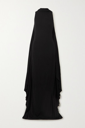 Tom Ford Open-back Cape-effect Jersey Gown - Black