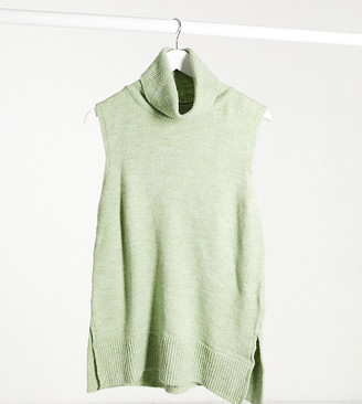 Mama Licious Mamalicious Maternity knitted sweater vest with roll neck in green