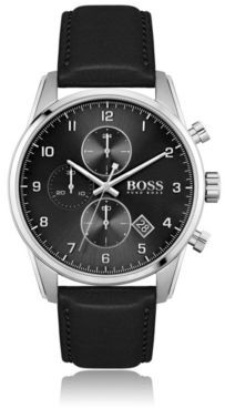HUGO BOSS Black-dial chronograph watch with black leather strap