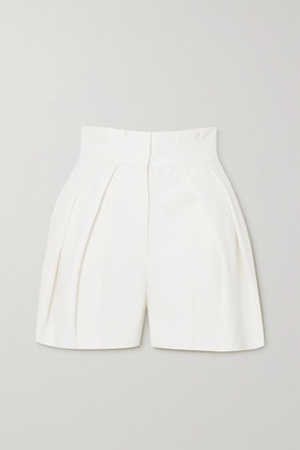 Alexander McQueen Pleated Wool-twill Shorts - White