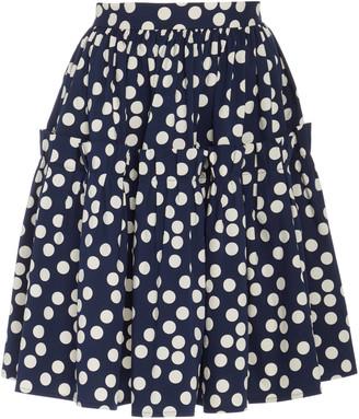 Carolina Herrera Polka-Dot Print Ruffled Cotton Skirt
