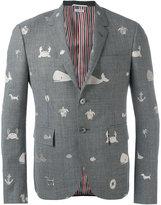 Thom Browne embroidered blazer - men - Cupro/Wool - 1