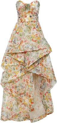 Monique Lhuillier Floral-Print Silk Tulle High-Low Gown