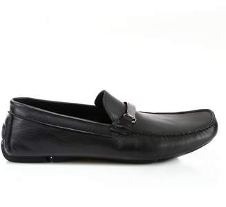 Versace Logo Plaque Leather Loafers