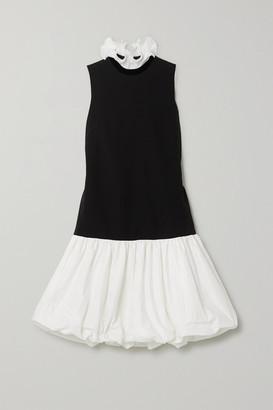 Givenchy Ruffled Plisse-satin, Cady And Taffeta Mini Dress - Black