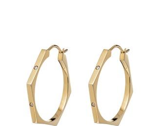 Lucy Priest Jewellery Nut & Bolt Diamond Hoop Earrings