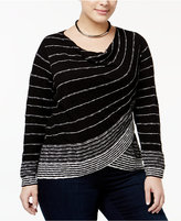 INC International Concepts Plus Size Striped Surplice Sweater, Only at Macy's