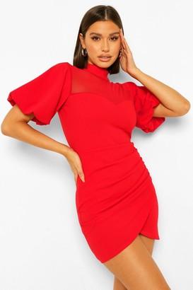 boohoo High Wrap Front Mini Dress