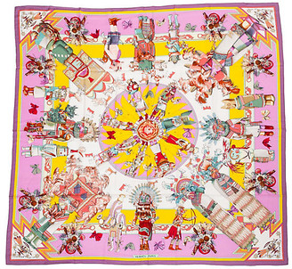 One Kings Lane Vintage Hermes Cashmere-Blend Kachinas Shawl - Vintage Lux - pink/yellow