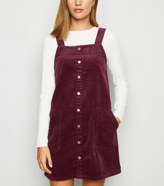 New Look Corduroy Button Pinafore Dress