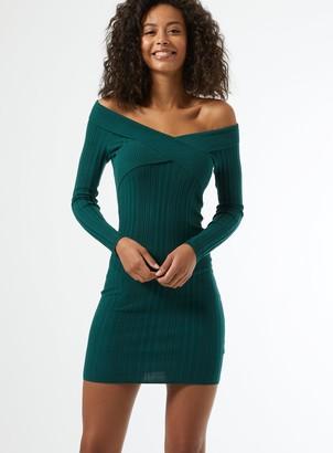 Miss Selfridge Dark Green V-Neck Bardot Knitted Mini Dress