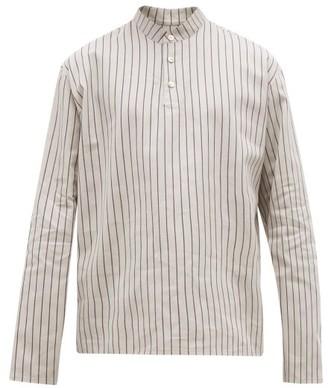 Hecho - Mandarin Collar Striped Cotton Shirt - Mens - Grey