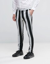 Asos Halloween Super Skinny Trousers In Black And White Stripe