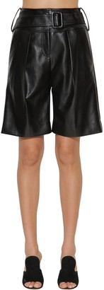 Self-Portrait Faux Leather Midi Shorts