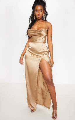 PrettyLittleThing Shape Mocha Satin Cowl Neck Maxi Dress
