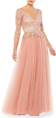 Mac Duggal Long-Sleeve Illusion Embellished Tulle A-Line Gown