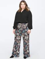 ELOQUII Printed Pajama Pant With Piping Detail