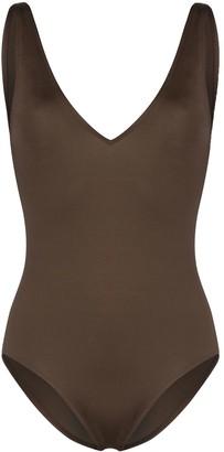 ASCENO V-neck open-back swimsuit