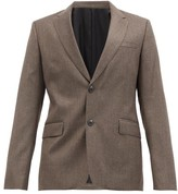 Ami Single-breasted Wool-fresco Suit Jacket - Mens - Light Brown
