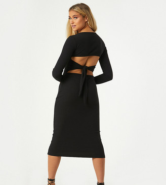 Outrageous Fortune exclusive open tie back detail midi dress in black