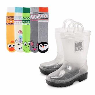 Muk Luks Girl's Clear Molly Rainboots with 5-Pk Socks Rain Boot