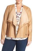 Sejour Drape Collar Leather Jacket (Plus Size)