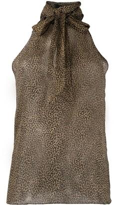 Nili Lotan Micro-Leopard Print Halterneck Blouse