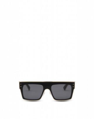 Moschino Square Sunglasses With Gold Profiles Woman Black Size Single Size