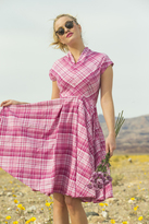 Shabby Apple Buttercup Stretch Poplin Plaid Fit And Flare Dress Pink